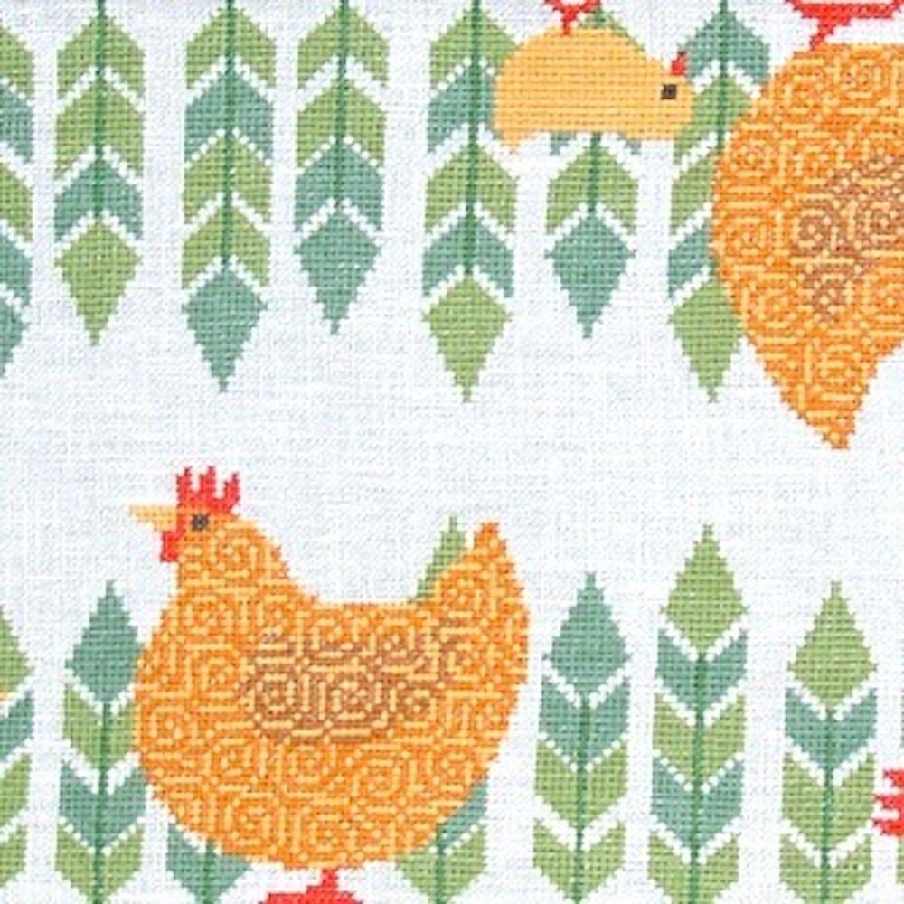 Fru Zippe Braune Hühner und Küken Tischläufer 77 0283  Braune Hühner und Küken