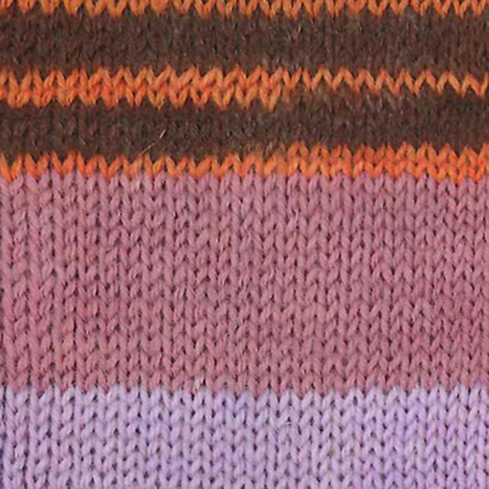 Kremke Soul Wool Edelweiss 6 ply 150 Purple erica brown striped
