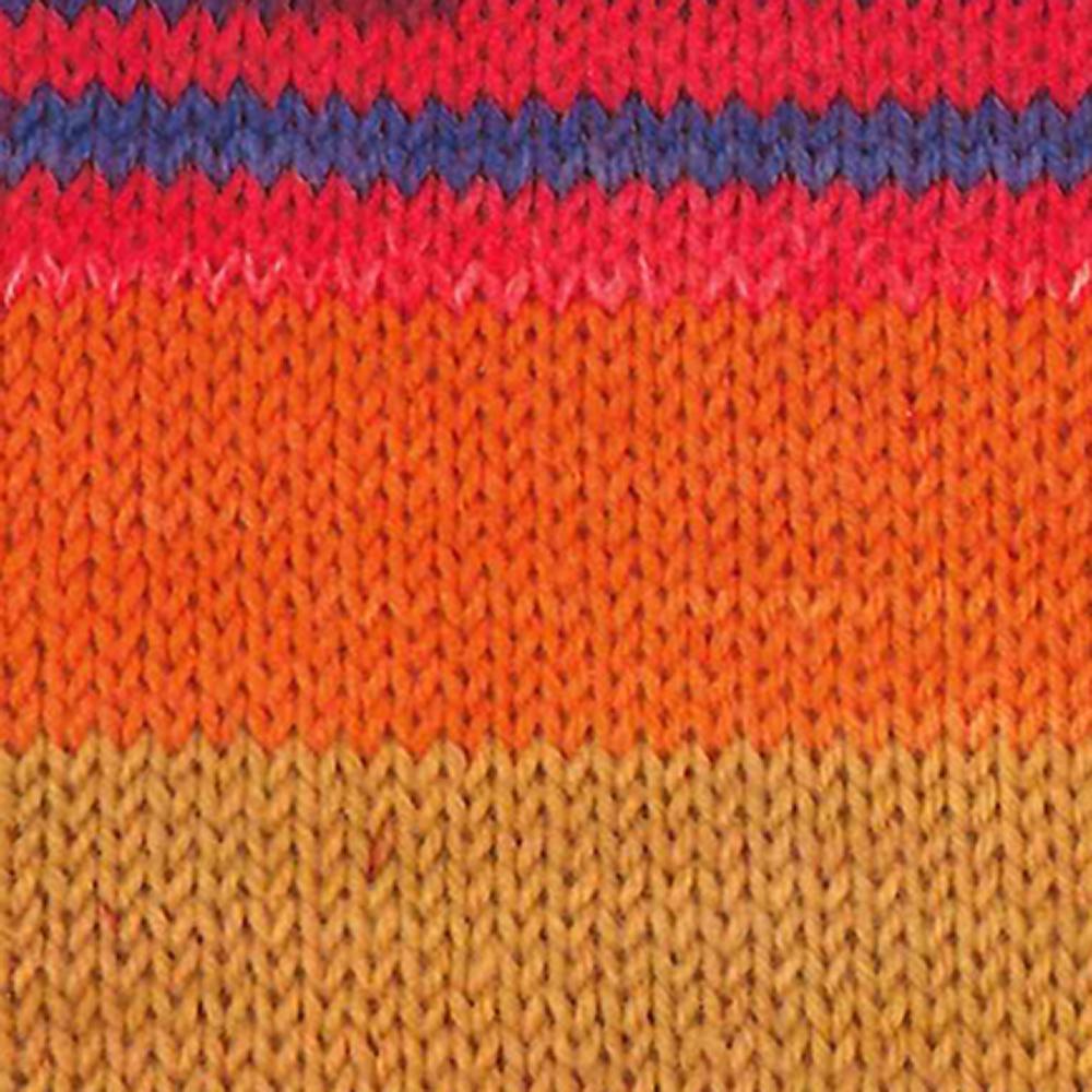 Kremke Soul Wool Edelweiss 6 ply 150 Orange brass blue striped