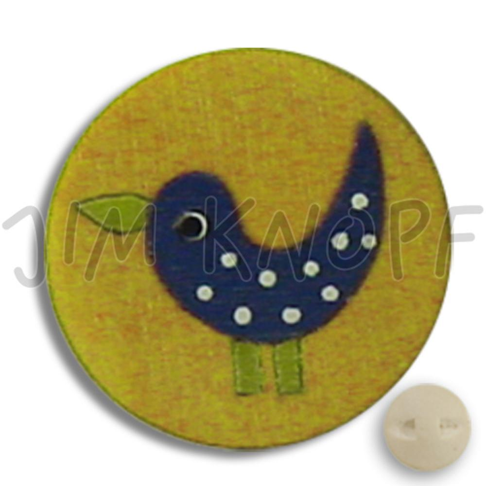 Jim Knopf Wood button birds 16mm Gelb