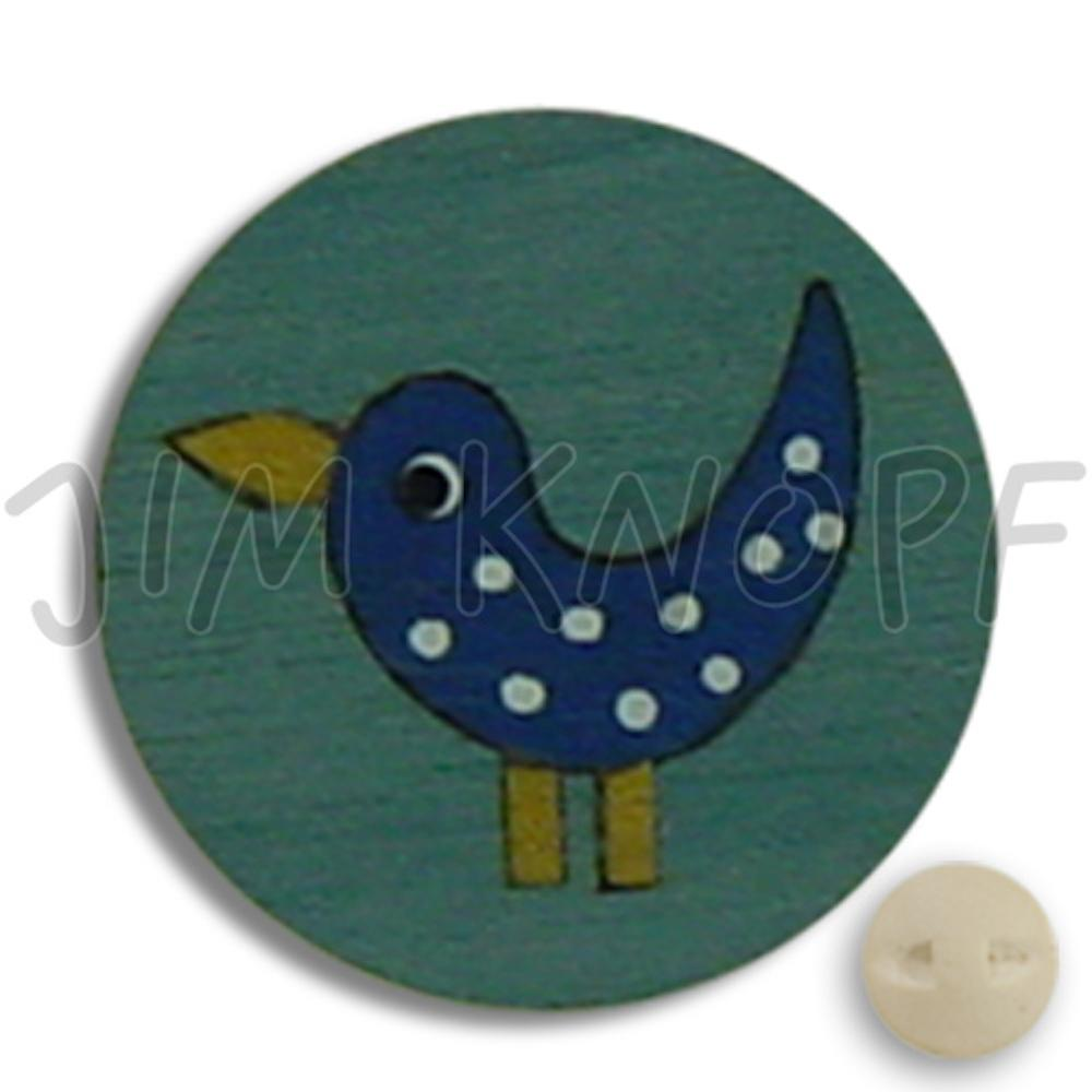 Jim Knopf Wood button birds 16mm Hellblau