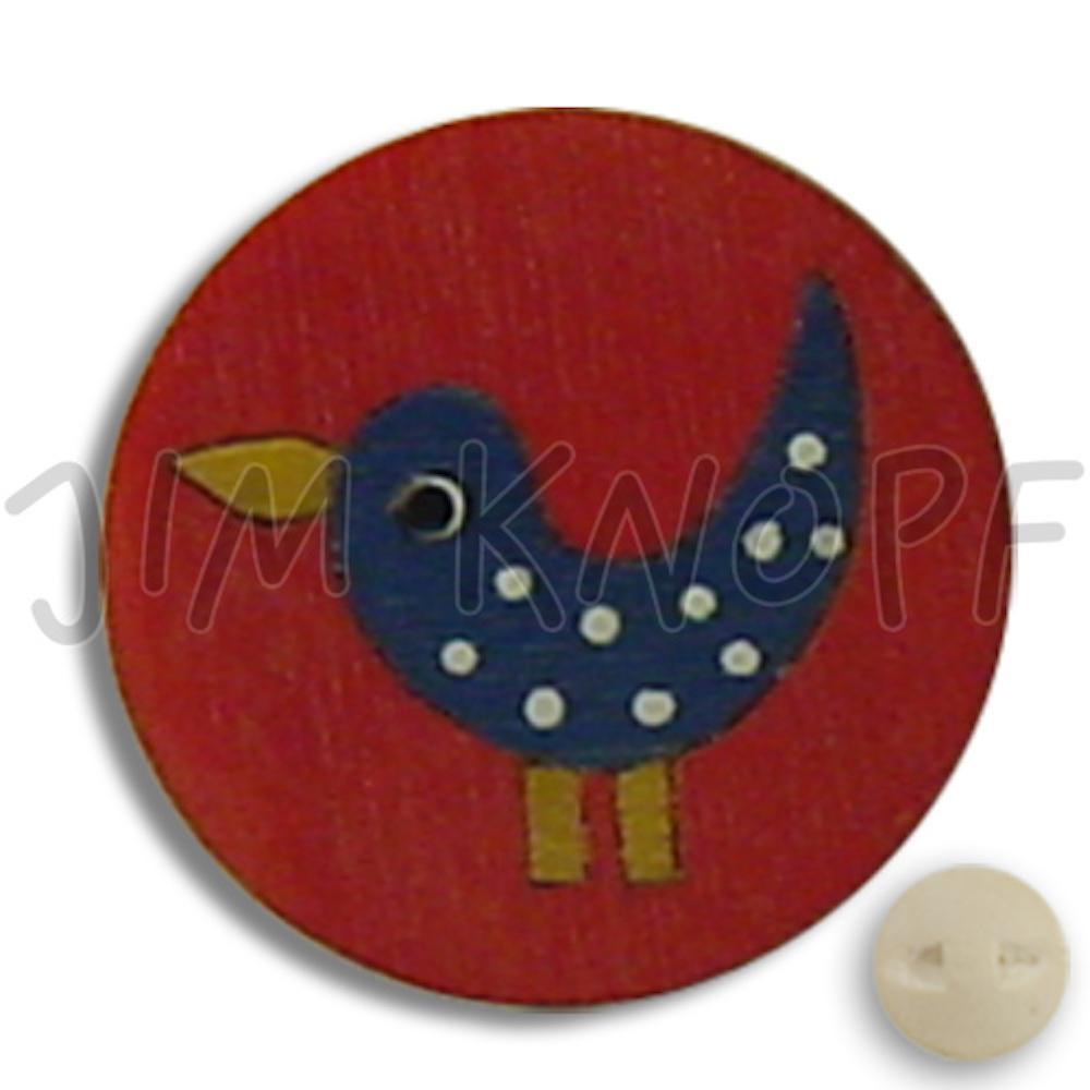 Jim Knopf Wood button birds 16mm Rot