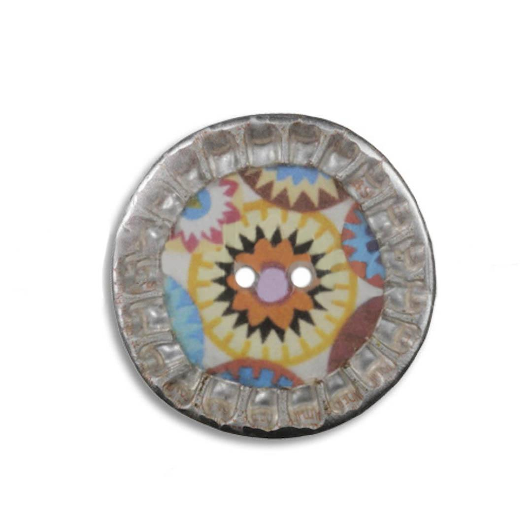 Jim Knopf Colorful button from recycled crown cap 28mm
