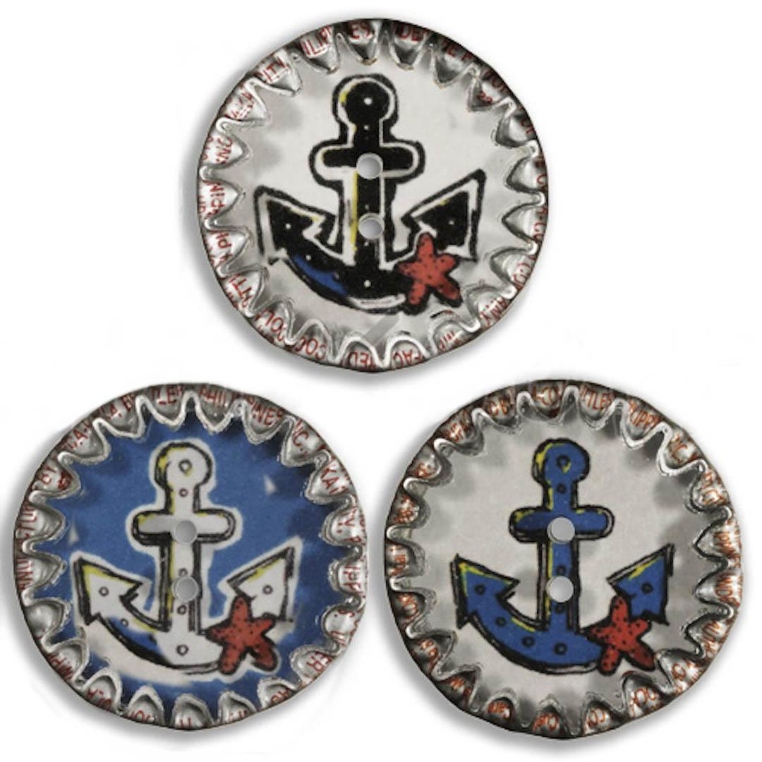 Jim Knopf Button from recycled crown cap anchor motiv 26mm