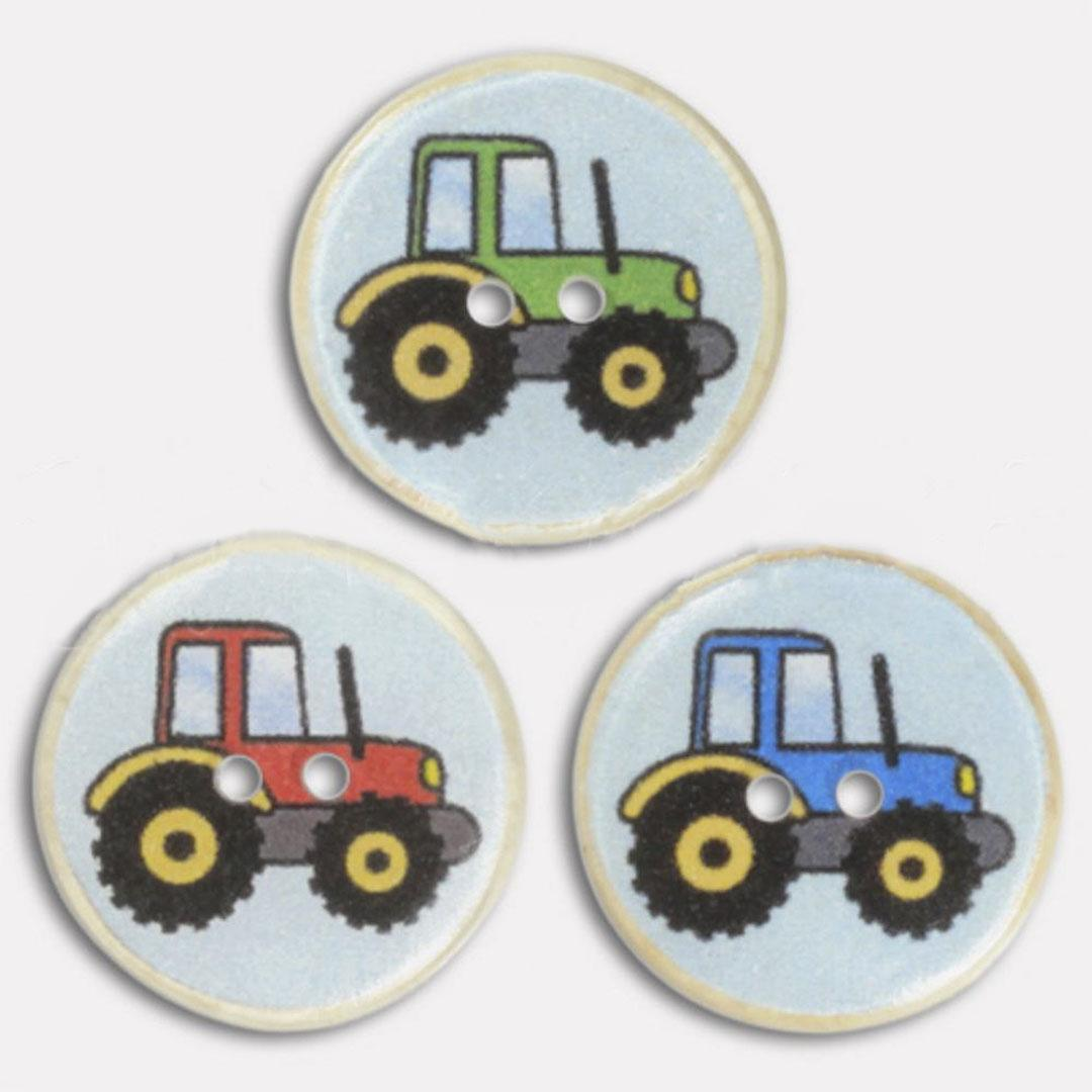 Jim Knopf Resin button with tractor motiv  Blau
