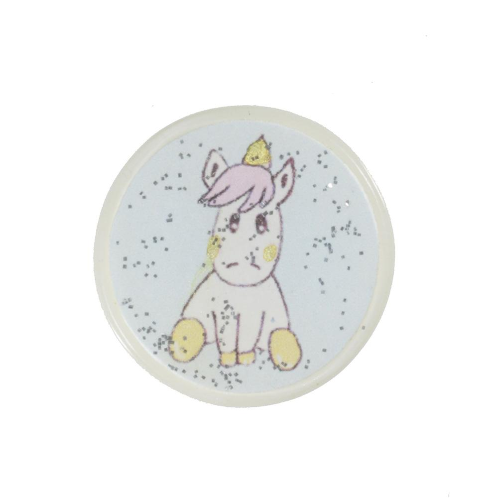 Jim Knopf Resin button with unicorn motiv 18 or 23mm Baby weiss