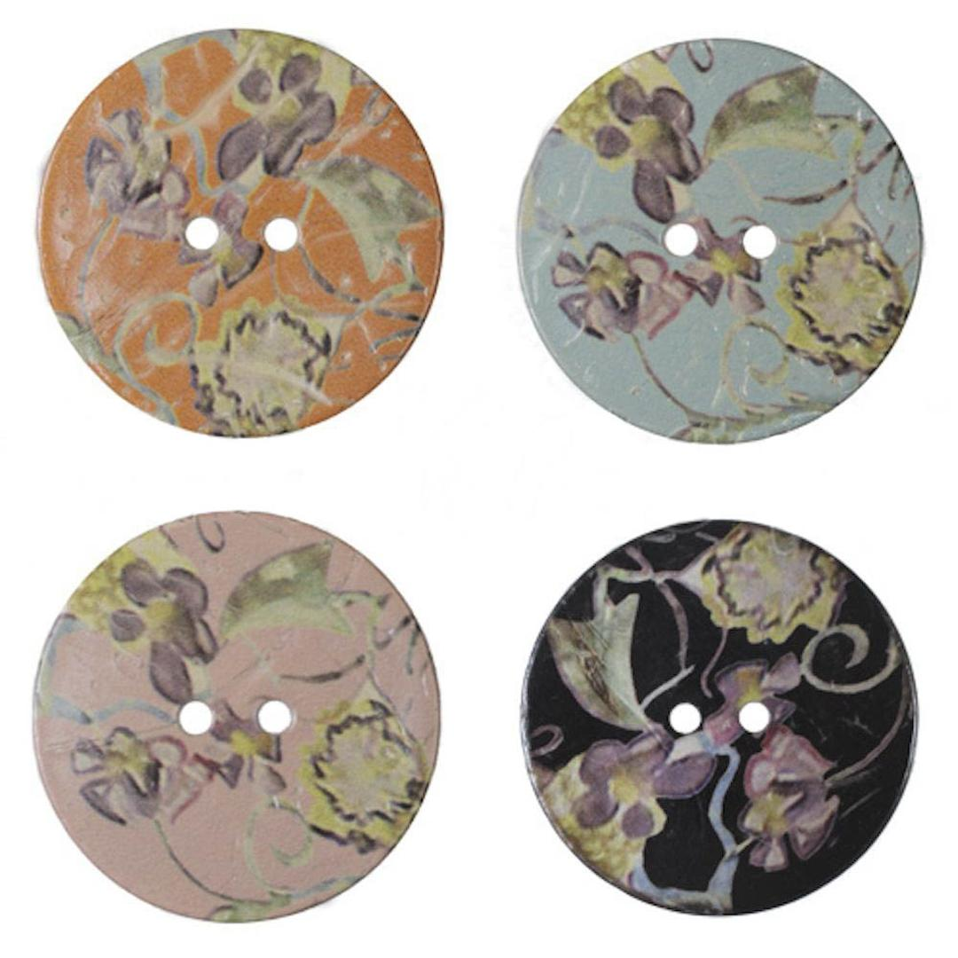 Jim Knopf Large coco wood button with flower motiv 40mm