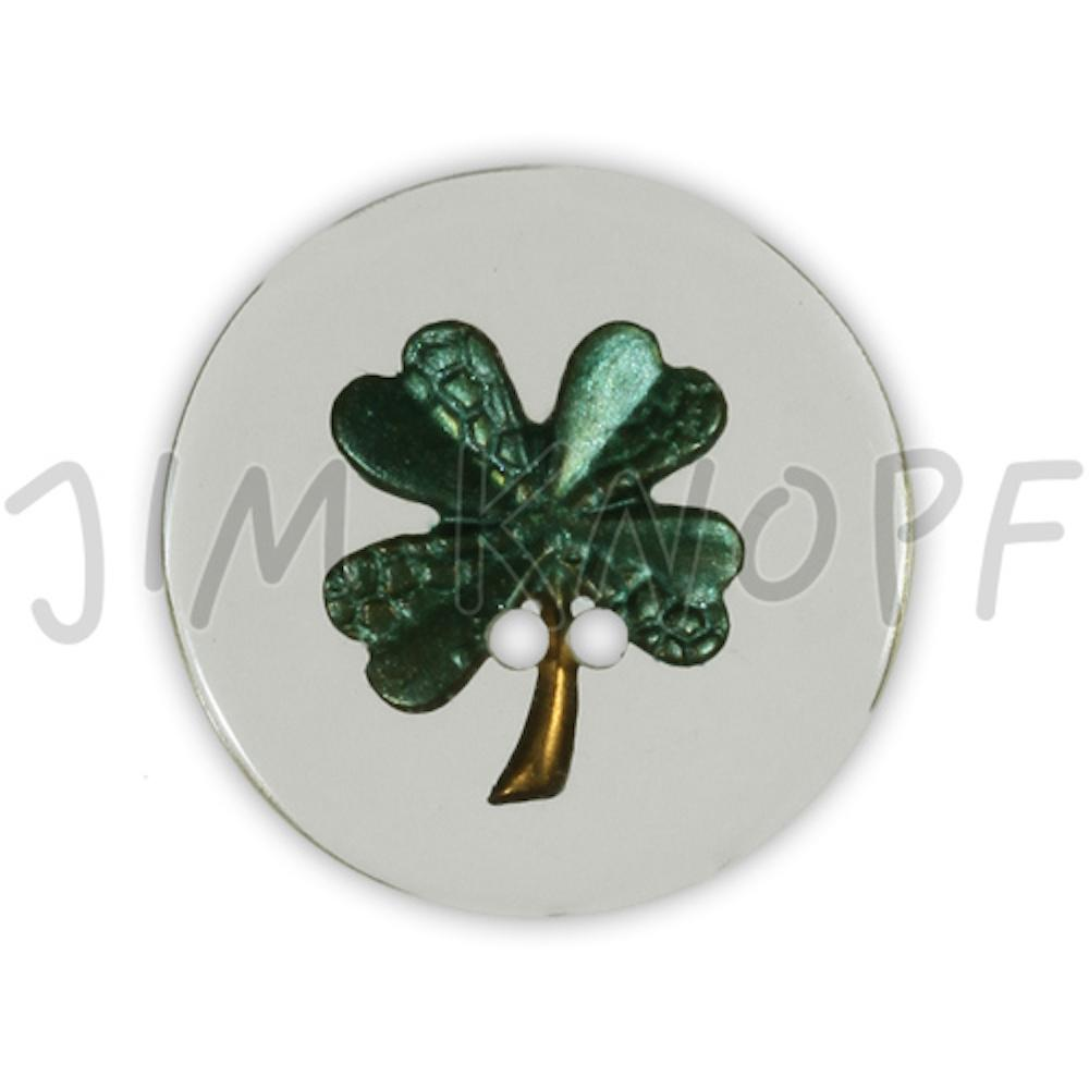 Jim Knopf Resin button flower motiv 18mm Grün auf Transparent