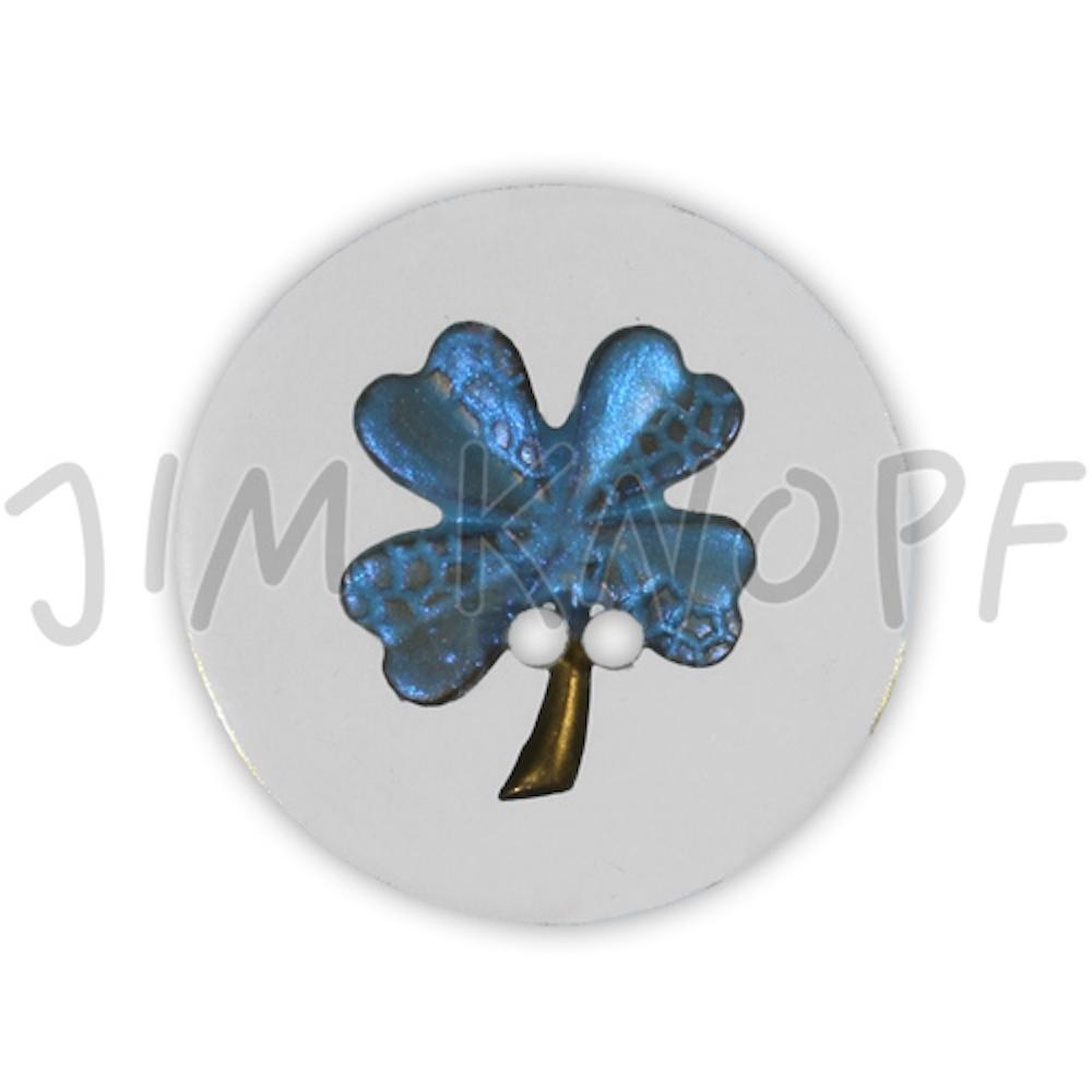 Jim Knopf Resin button flower motiv 18mm Blau auf Transparent