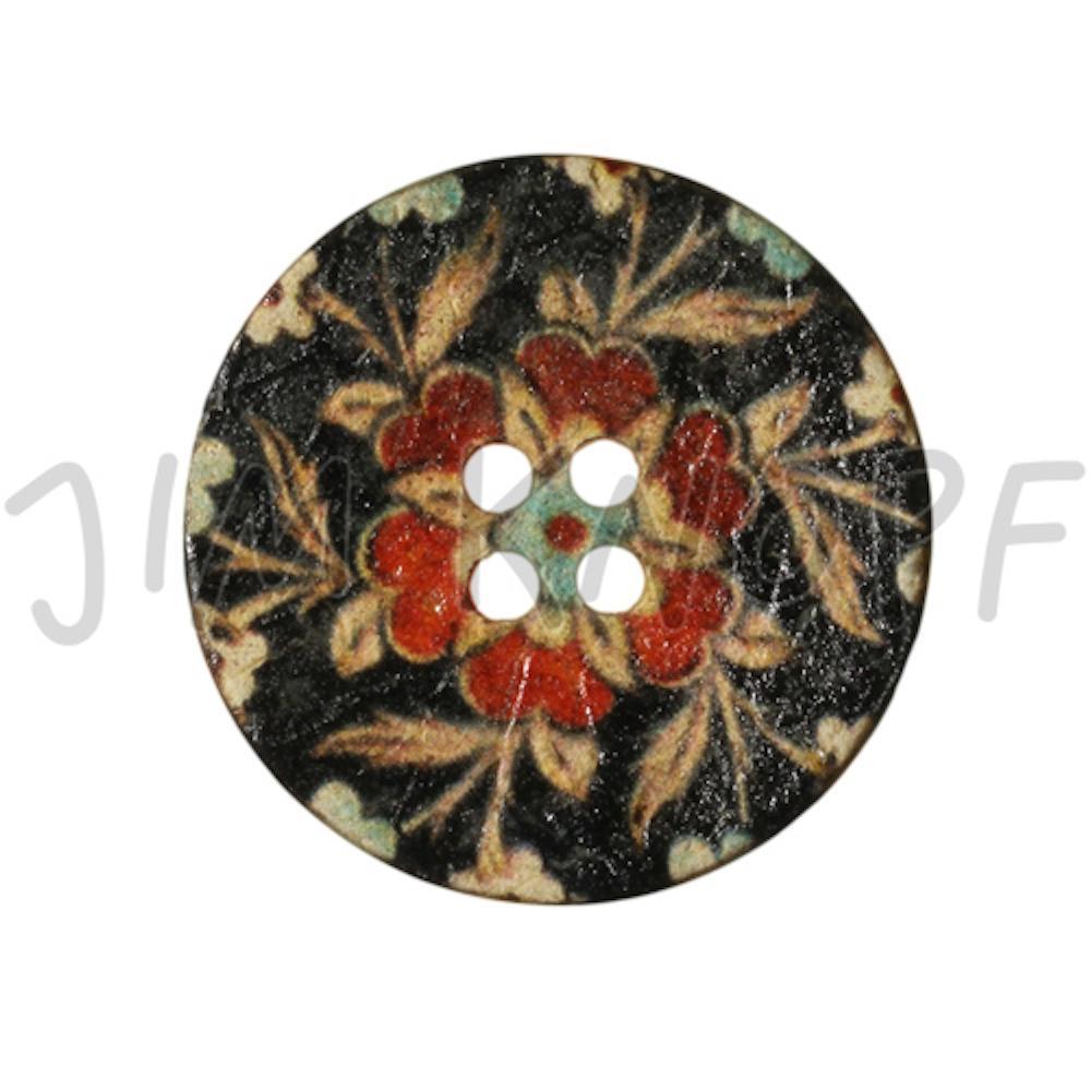 Jim Knopf Coco wood button flower motiv in several sizes Schwarz Rot