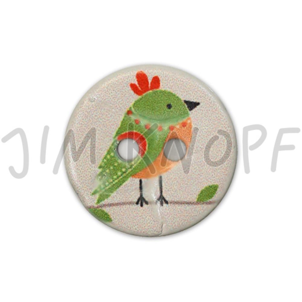Jim Knopf Coco wood button cute birds 16mm Grün