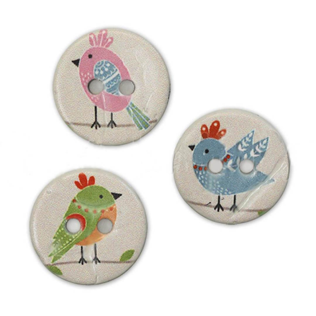 Jim Knopf Coco wood button cute birds 16mm  Blau