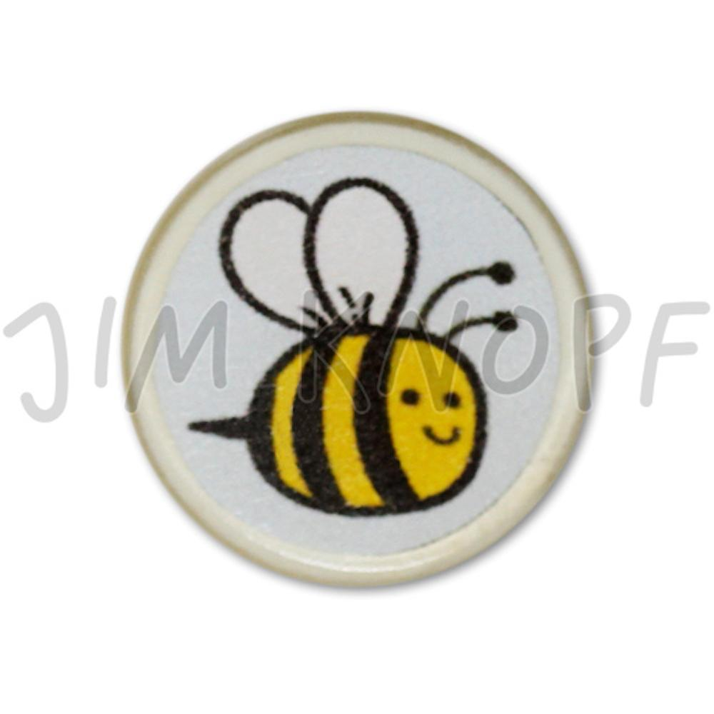 Jim Knopf Resin button with busy bee motiv 18mm  Hellblauer Grund