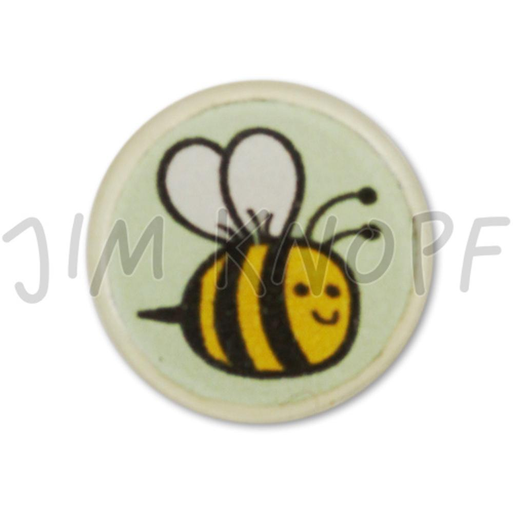 Jim Knopf Resin button with busy bee motiv 18mm Hellgrüner Grund