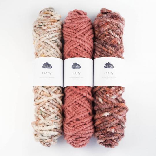 Kremke Soul Wool RUGby Teppichwolle gefärbt  Natur-Rost