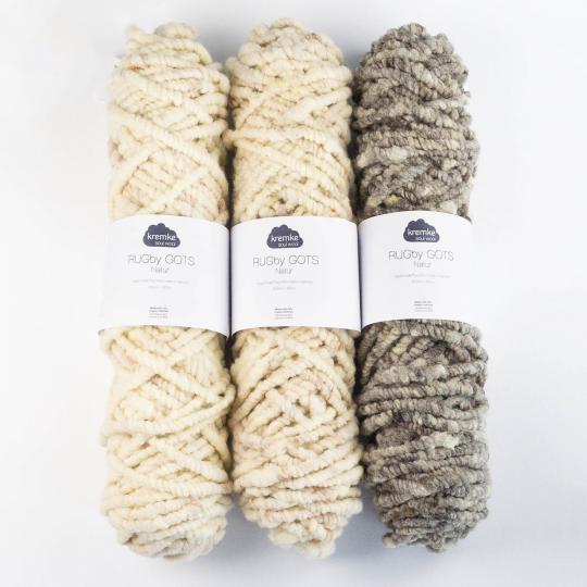 Kremke Soul Wool Rugby Teppichwolle GOTS ungefärbt  Naturweiß ungefärbt