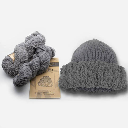Erika Knight Set hat with fur brim