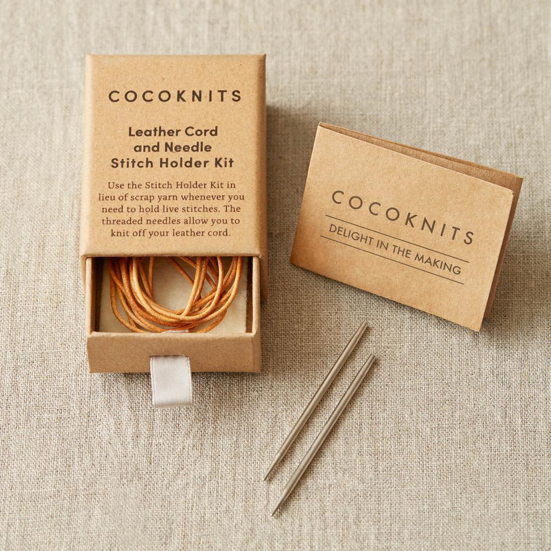CocoKnits Leather cord and Needle kit.  Maschenhalter Lederband mit Nadel